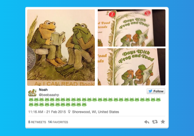 Noah's tweet with a kid's book illustration of a frog attached and a bunch of frog emojis -- it's really cute