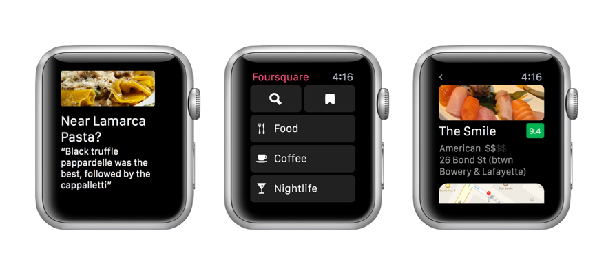 Some screenshots of the Foursquare App for Apple Watch